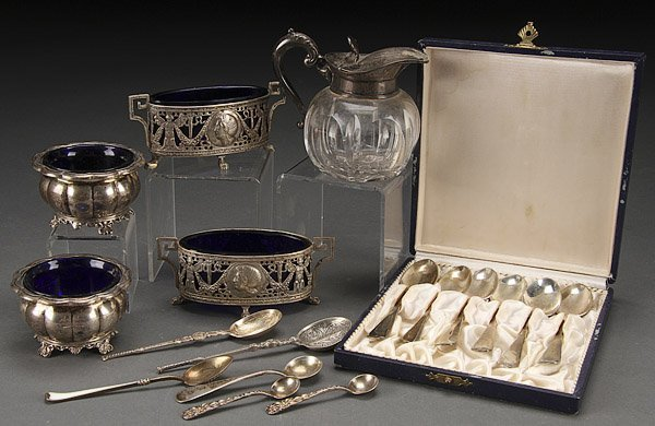A STERLING AND SILVER TABLEWARES GROUP