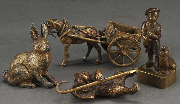 A THREE PIECE GROUP OF AUSTRIAN BRONZE MINIATURES