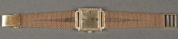 OMEGA 14K GOLD  DIAMOND MENS WRISTWATCH