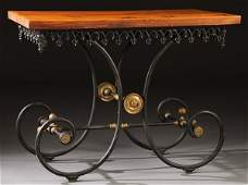 FRENCH WROUGHT IRON & BRASS PARLOR TABLE