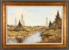 A GROUP OF THREE LARGE FRAMED OIL PAINTINGS