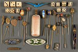 VICTORIAN STICK PINS  ENAMELED JEWELRY