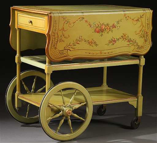 A Baker Furniture Hand Painted Tea Cart