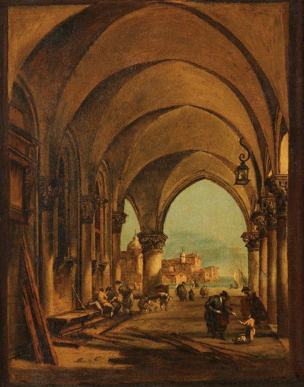 ITALIAN OLD MASTER PAINTING, VENICE, F. GUARDI, 18TH C.