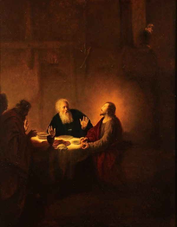 DUTCH RELIGIOUS OIL PAINTING, CHRIST AT EMMAUS