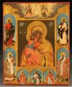 UNIQUE RUSSIAN ICON, VLADIMIR MOTHER OF GOD, 18TH C.