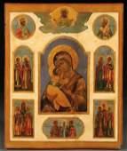 UNIQUE RUSSIAN ICON, VLADIMIR MOTHER OF GOD, 19TH C.
