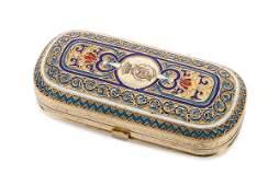 RUSSIAN SILVER   ENAMEL SNUFF BOX KHLEBNIKOV 1878