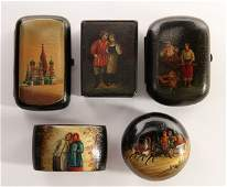A GROUP OF FIVE RUSSIAN LACQUERWARE ITEMS