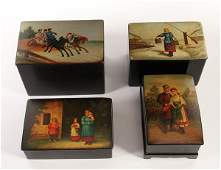 A GROUP OF FOUR RUSSIAN LACQUERWARE BOXES
