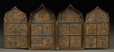 CAST BRONZE AND ENAMEL RUSSIAN ICONS TRIPTYCHS 19TH C