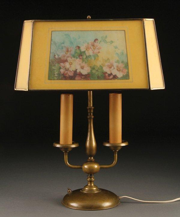 552: A HANDEL REVERSE PAINTED TABLE LAMP