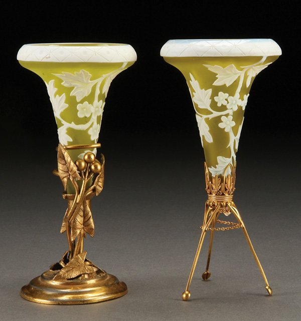 556: A PAIR OF ENGLISH CAMEO GLASS TRUMPET VASES