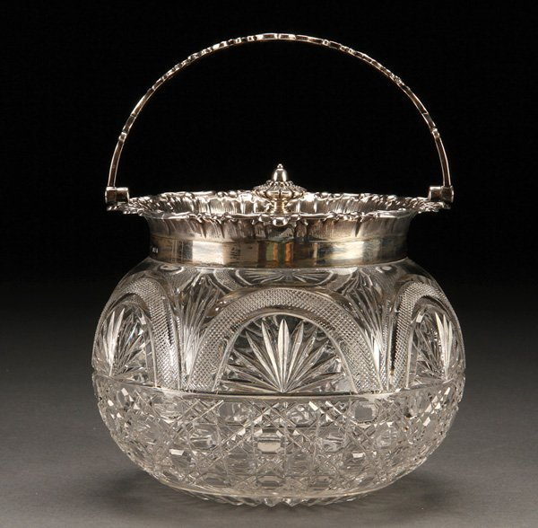 569: LIBERACE OWNED CUT GLASS & SILVER  BISCUIT JAR