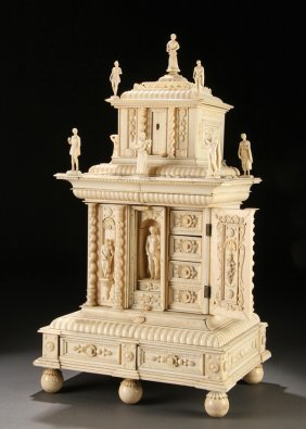 704 Architectural Carved Ivory Jewelry Chest