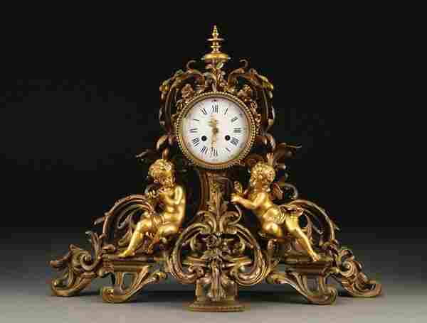 FRENCH LOUIS XVI STYLE FIGURAL MANTLE CLOCK
