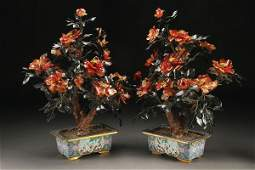 1108: A PAIR OF CHINESE CARVED HARDSTONE TREES
