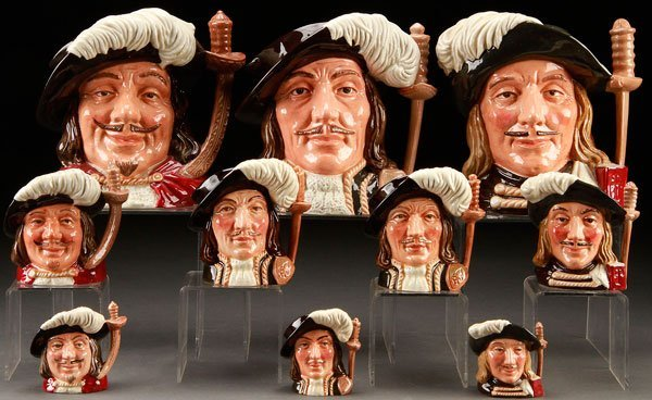 10 ROYAL DOULTON THREE MUSKETEERS CHARACTER JUGS