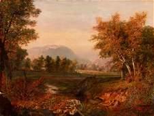 19TH C. HUDSON RIVER LANDSCAPE OIL PAINTING SIGNED PAUL