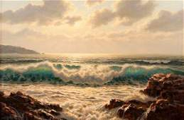 AMERICAN SEASCAPE OIL PAINTING BY JOSEF M ARENTZ