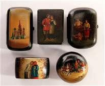 IMPERIAL RUSSIAN PERIOD LACQUER ITEMS, GROUP OF FIVE