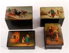 FOUR RUSSIAN LACQUERWARE BOXES