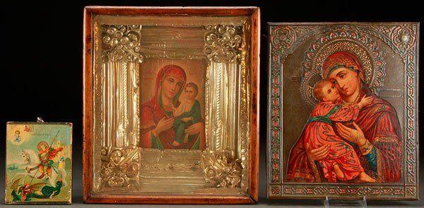 THREE RUSSIAN ICONS, CIRCA 1890-1900