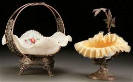 VICTORIAN ART GLASS AND SILVERED BASKET GROUP