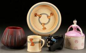 A FIVE PIECE ART POTTERY AND CERAMIC GROUP