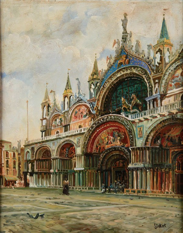 OIL PAINTING OF ST. MARKS VENICE STYLE OF SICKERT