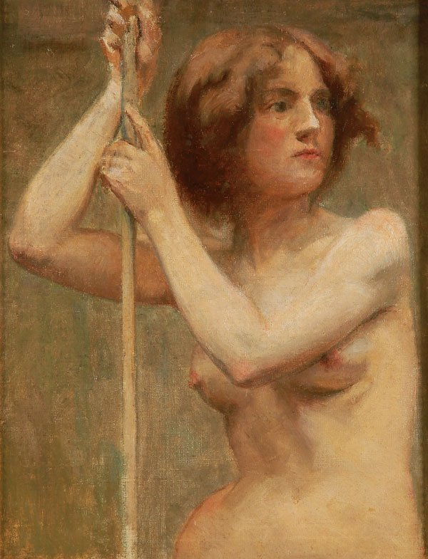 OIL PAINTING, FRENCH SCHOOL, FEMALE NUDE