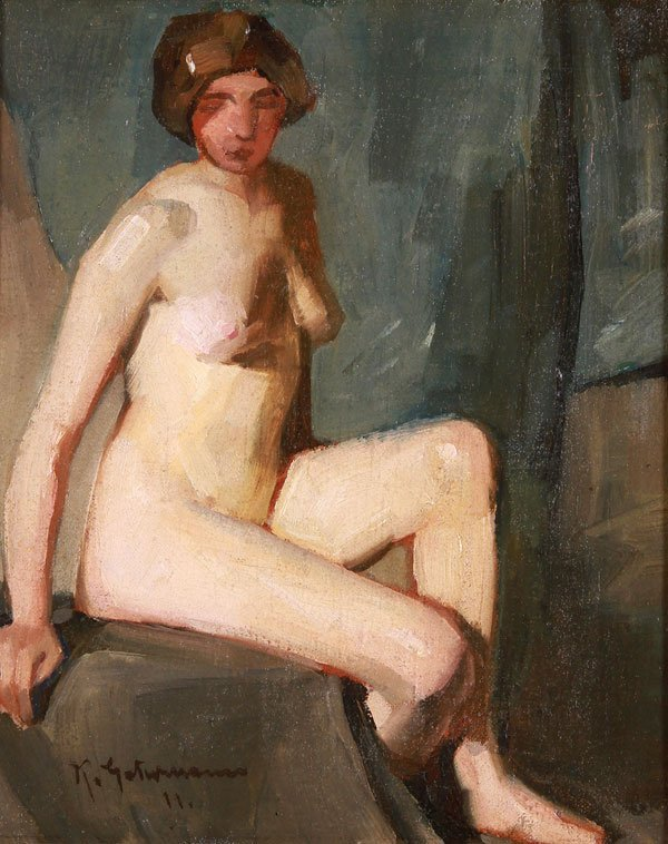 Fine Nude Oil Painting Artist Signed & Dated 1911