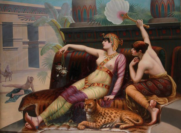 OIL PAINTING, AFTER CABANEL, FRENCH, CLEOPATRA