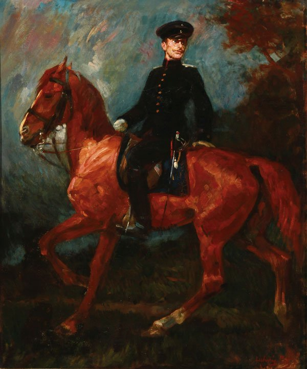 Signed 19th Century Oil Painting Prussian Horse Officer