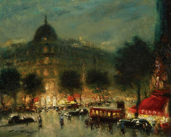 Great Paris Night Scene Oil  Painting by Liberts