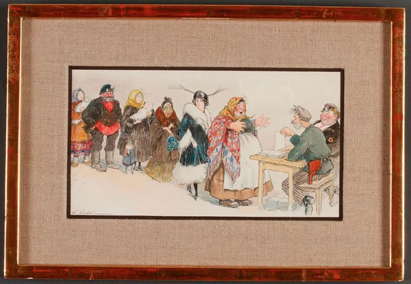RUSSIAN WATERCOLOR, KADULIN, DIVORCE OFFICE - 2