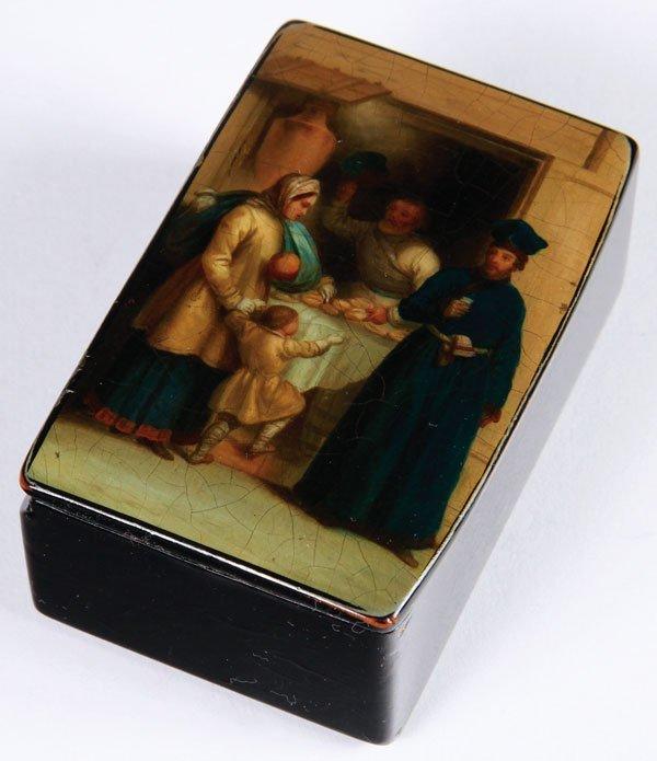 A RUSSIAN LACQUER SNUFF BOX, LUKUTIN, CIRCA 1860