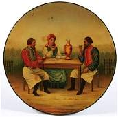 A RUSSIAN LACQUER PLATE, VISHNIAKOV, 19TH CENTRUY