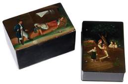 PAIR OF RUSSIAN LACQUER BOXES, VISHNIAKOV, 19TH C