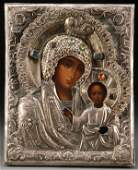 A RUSSIAN ICON OF THE KAZAN MOTHER OF GOD 19TH C