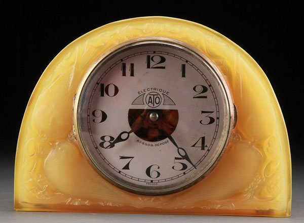 "Rene Lalique French ""MOINEAUX"" amber Glass Table Clock"
