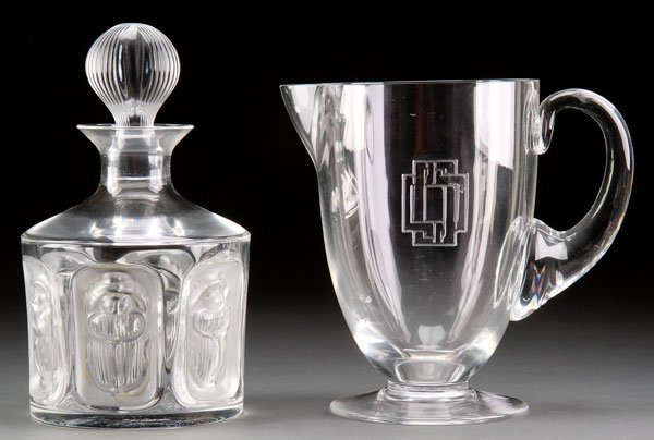 "A LALIQUE FRENCH ART GLASS ""KHEPRI"" DECANTER"