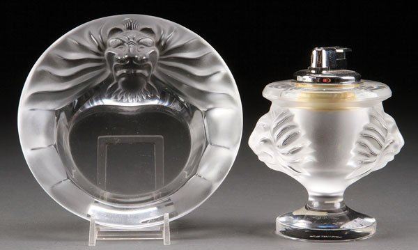 Lalique French Art Glass Lion Ashtray And Lighter