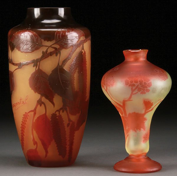 A FRENCH AND AUSTRIAN CAMEO ART GLASS VASE GROUP