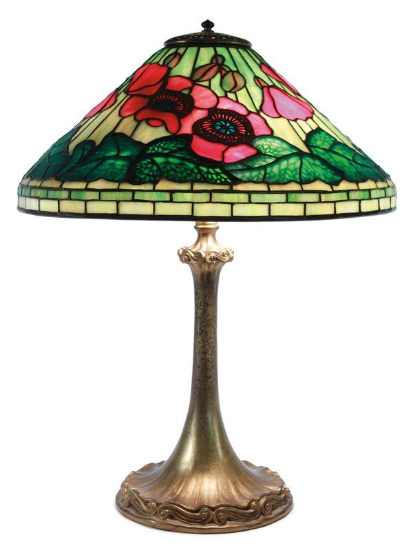 L.C. Tiffany Red Poppies & Dore Bronze Table Lamp