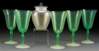 6 PIECE AMERICAN ART GLASS GROUP EARLY 20TH C