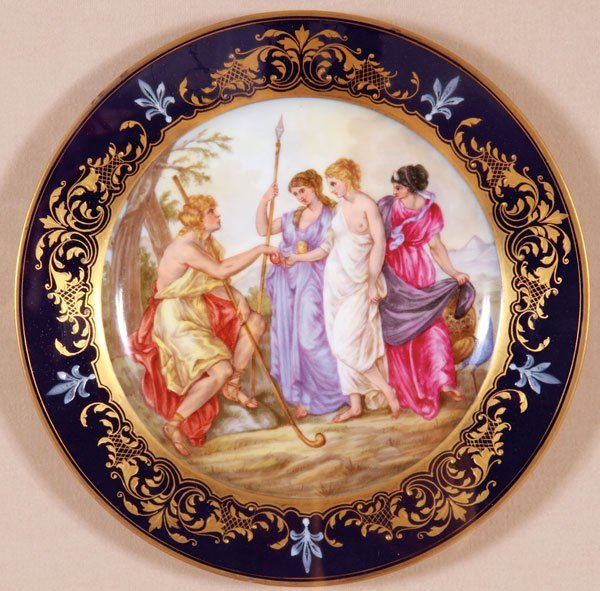 4 ROYAL VIENNA STYLE PAINTED PORCELAIN PLATES