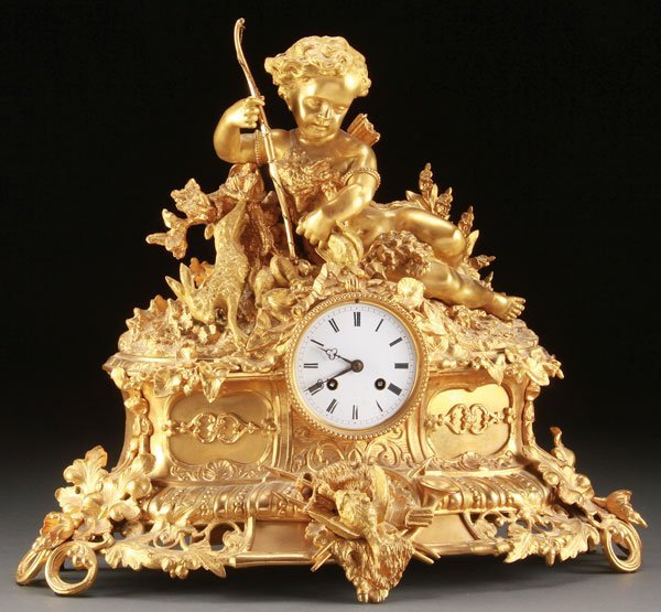 FRENCH LOUIS XVI STYLE GILT BRONZE MANTLE CLOCK