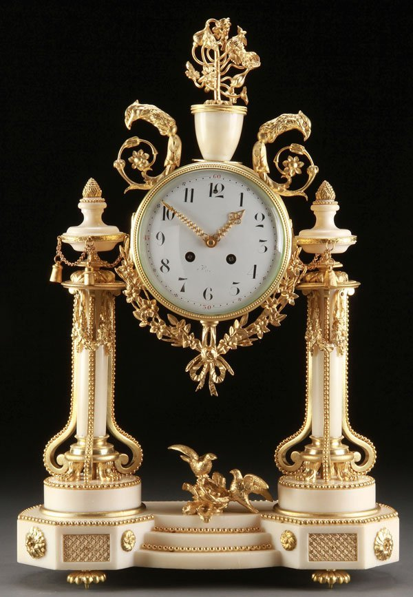 FRENCH GILT BRONZE AND ALABASTER MANTLE CLOCK