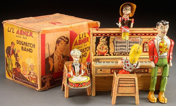 A UNIQUE ART LIL ABNER DOGPATCH TOY BAND, CIRCA 1945.